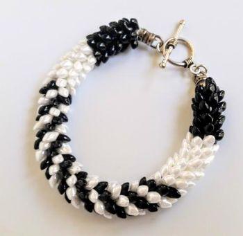 White on Black Kumihimo Bracelet